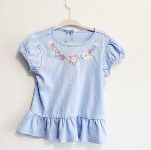 Gymboree Girl Blue Floral Top, 18-24 Months